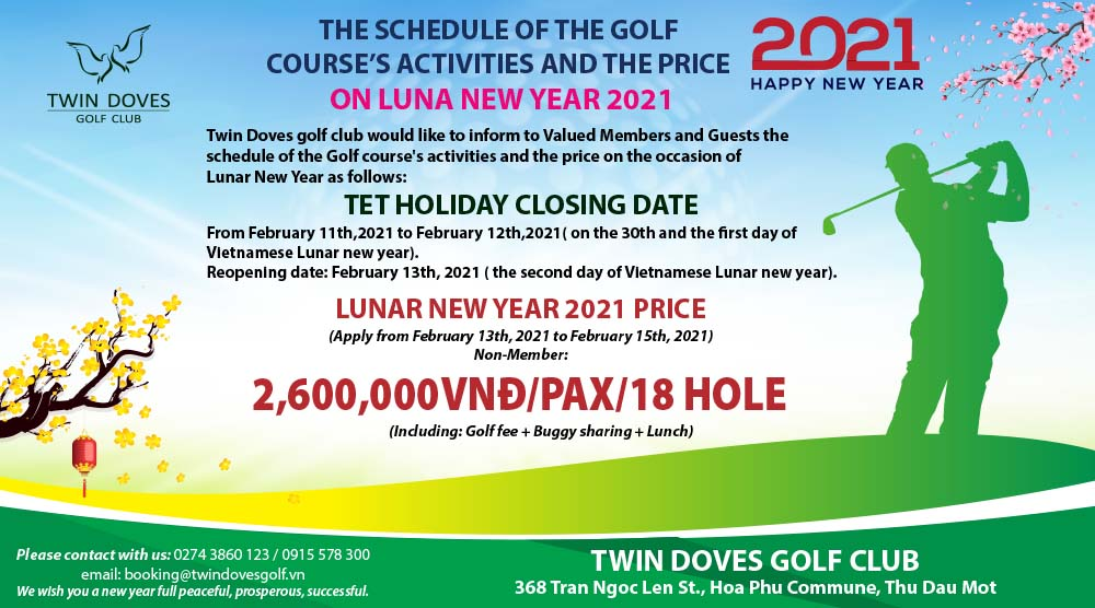 Promotion - THE SCHEDULE OF THE GOLF  COURSE'S ACTIVITIES AND THE PRICE 2021